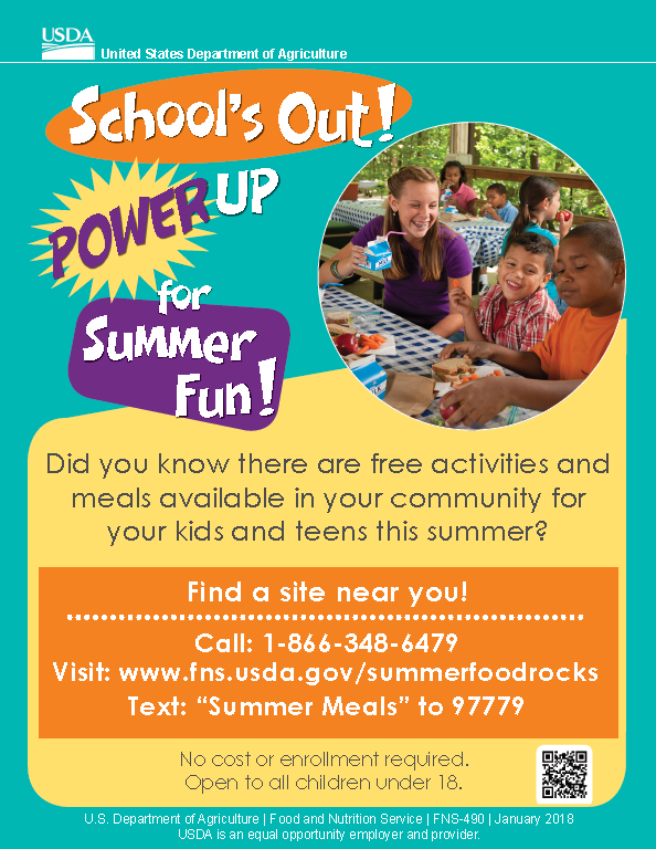 Informational flyer for the Summer Food Program by FDA, Call 18663486479 or text